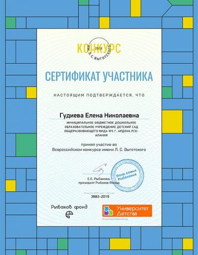 Сертификат участника всероссийско